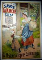 SAVON  PUBLICITE CHROMOLITHOGRAPHIEE POUR LE SAVON LA MANCHE  12 X 9   CM - Publicités
