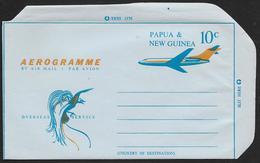 PAPUA NEW GUINEA Aerogramme 10c Airplane C1960s Unused! STK#X21243 - Papoea-Nieuw-Guinea
