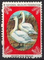 SWAN / BIRD Birds - National Wildlife Federation NWF - 1979 USA - LABEL / CINDERELLA / VIGNETTE - Used - Swans