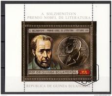 Bf. 114A Guinea Equatoriale 1974 Nobel Letteratura A. Solzhenitsyn Sheet In Rilievo  Perf. - Guinée Equatoriale