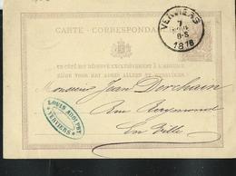 Carte Obl. N° 6. Obl. Verviers 07/11/1876 Pour Verviers 07/11/1876 - Entiers Postaux