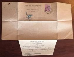 Avis De Réception D'un Objetchargé Ou Recommandé 1931, D'Angers Pour Saïgon. Viêt Nam. - Cachets Manuels