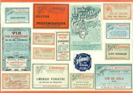 """52  - Chaumont  """"  Pharmacie Centrale Montoille - Etiquettes De Flacons  """" 15 Etiquettes Sur Charnieres - Etiquettes"""