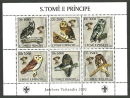 ST THOMAS AND PRINCE 2002 SCOUTS BIRDS OWLS M/SHEET MNH - Sao Tome And Principe