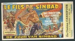 """Affichette Couleur. Film """" Le Fils De Sinbad"""" Au Cinéma Carrefour (Liège) En 1956 - Affiches"""