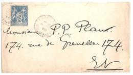 PARIS 5 Bd Montparnasse 15c Sage Yv 90 Bleu Ob Bloc Dateur HORAIRE Lautier A2b 13 8 1900 - Marcophilie (Lettres)