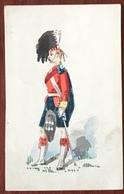 Aquarelle Et Gouache Sur Format CDV Circa 1870. Highlander. F. Coram, Sloane Street, London. - Uniforms