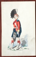 Aquarelle Et Gouache Sur Format CDV Circa 1870. Highlander. F. Coram, Sloane Street, London. - Uniformes