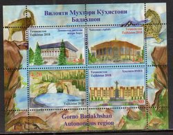 TAJIKISTAN, 2018, MNH, GORNO REGION, ARCHITECTURE, WATERFALLS, BIRDS, SHEETLET - Geography