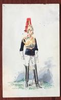 Aquarelle Et Gouache Sur Format CDV Circa 1870. 6th Dragoons F. Coram, Sloane Street, London. - Uniformes