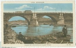 Lyon 1932; Le Pont De La Guillotière Et Le Pont Wilson ( Avec Tram Et Pêcheur) - Voyagé. (Lyon Artistique) - Lyon