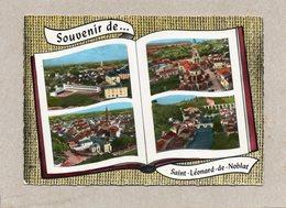 CPSM Dentelée - SAINT-LEONARD-de-NOBLAT (87) - Carte De Multi-vues Aériennes Au Livre (album Photos) Ouvert - Années 60 - Saint Leonard De Noblat