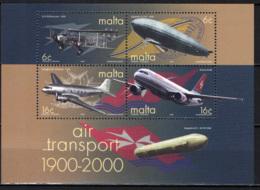 MALTA - 2000 - CENTENARIO DEL TRASPOSRTO AEREO - FOGLIETTO - SOUVENIR SHEET - MNH - Malta