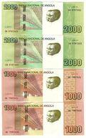 ANGOLA 2 Notes 2000 And 2 Notes 1000 Kwanzas 2012  UNC - Angola