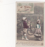 CPA Enfants Avec Un Vélo Bicyclette Cyclisme Cycling Radsport Le Lièvre Et La Tortue (2 Scans) - Other