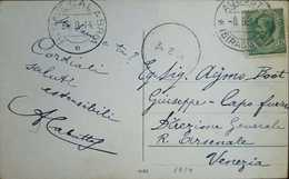 O) 1914 ITALY, KING EMMANUEL III 5c SCT 94 5c Green, POSTAL CARD FROM SIRACUSA TO VENICE, XF - Italia
