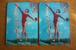 2 Items Lot - Gymnastics  - Small Calendar -  1980 -  STEREO - 3D - Calendars