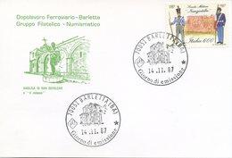ITALIA - FDC DOPOLAVORO FERROVIARIO BARLETTA 1987 - SCUOLA MILITARE NUNZIATELLA - 1946-.. République