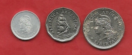 PS88----ARGENTINA--3 MONETE DA 1 PESO 1957--5 PESOS 1968--1 CENTAVO 1983  BB-------2 SCANS - Argentina