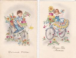 Lot De 2 CPSM Enfants Sur Un Vélo Cadeaux Fleurs Bicyclette Cyclisme Cycling Radsport Bonne Fête Illustrateur - Mauzan, L.A.