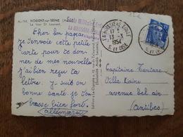 1954 Cachet Ecole Militaire Enfantine Heriot, La Boissière Ecole - TAD, Marianne De Gandon, Antibes, CP Nogent Sur Seine - Marcophilie (Lettres)