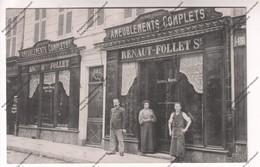 Rare Carte Photo Animée 89 : Entrée Du Magasin D'ameublements RENAUT-FOLLET Au 43 Rue Du Temple - Auxerre