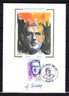 """"""" GENERAL DE GAULLE """" Sur Carte Maximum SIGNEE H. SAINSON De 1990. N° YT 2634. Parfait état - De Gaulle (General)"""