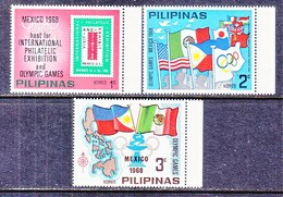 PHILIPPINES  OLYMPICS,  FLAGS  STAMP  EXPO.   ** - Summer 1968: Mexico City