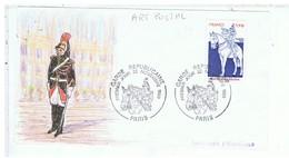 TIMBRE-1980-DEVANT D'ENVELOPPE AVEC TIMBRE DESSIN TAMPON GARDE REPUBLICAINE-1er JOUR 22 NOVEMBRE 1980-ART POSTAL - Autres