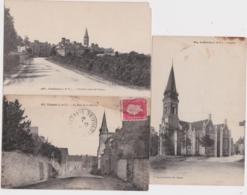 Bs - Lot De 3 Cpa COËSMES, COUËMES (Ille Et Vilaine) - église, Rue De La Mairie, Arrivée Route De Retiers - Châteaugiron