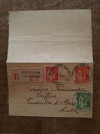 Entier Postal - Type Paix 50c Rouge + Complément 50 Et 75c Vert - Recommandé Vendeuvre Sur Barse 471 Intra, TAD - Postal Stamped Stationery