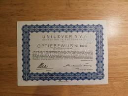Unilever Nv, Gevestigd Te Rotterdam, Optiebewijs, 1942  (Box1) - Other