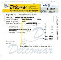 Ticket De Traversée Delcomar Bateau Bac De Palau à L'Archipel De La Maddalena Sardaigne - Billets D'embarquement De Bateau