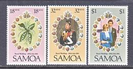 MAURITIUS  558-60   **   ROYAL  WEDDING  PRINCESS  DI - Samoa