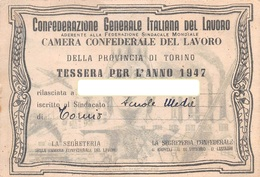"07573 ""CONF. GEN. ITALIANA DEL LAVORO - TORINO - N° 807941"" TESSERA ASSOCIATIVA ORIGINALE 1947 - Organisaties"