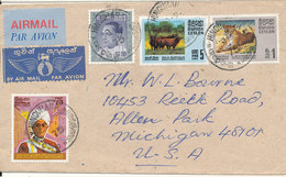 Ceylon Cover Sent Air Mail To USA 1975 With More TOPIC Stamps - Sri Lanka (Ceylon) (1948-...)