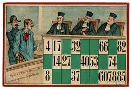 C1900 - Lithographie Glacée - 5 Planches De Loto - Thème : Au Tribunal - Juges - Avocats - Justice - 7 Scans - Jouets Anciens