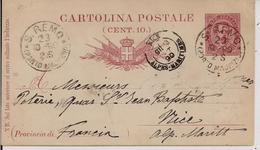 """C.P. Umberto I """"Provincia Di""""mill.90,cent.10-Timbro Poste S.REMO(Porto Maurizio),NICE(FRANCIA) - Storia Postale"""