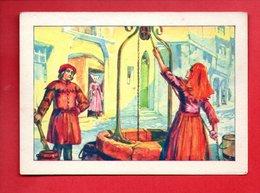 """BILLET DE SATISFACTION . L'EAU À TRAVERS LES ÂGES . """" LES PUITS """" . CHROMO . """" BON POINT """" - Réf. N°19583 - - Diplômes & Bulletins Scolaires"""