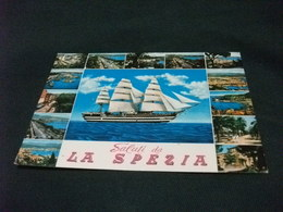 SALUTI DA LA SPEZIA LIGURIA  VEDUTINE CON NAVE SHIP VELIERO AMERIGO VESPUCCI - Saluti Da.../ Gruss Aus...