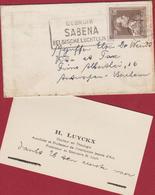 Carte De Visite Visitekaartje Stempel Cachet Obliteration Gebruik SABENA H. Luyckx Docteur En Theologie - Belgique