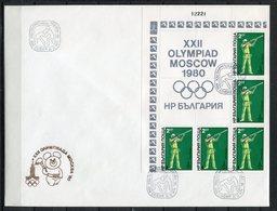 Moscú 1980. Bulgaria 1979. Yvert 2507-12 X 5. FDC. - Verano 1980: Moscu
