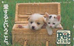 Télécarte Japon / 110-011 - ANIMAL - CHAT & Bébé CHIEN LABRADOR - CAT & DOG Japan Phonecard - KATZE & HUND - 4793 - Gatos