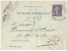 PARIS Bourse Pneumatique Enveloppe Entier 30c Semeuse Violet Yv EPP2 Storch K2 Verso 16 Lignes 20 Villes Ob 16 6 1911 - Pneumatiques