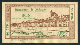"""Mairie De Balaguer (Espagne - Lérida) """"BON Contra La Caixa Municipal (50 CTS.) - Emission 5 Août De 1937 - Non Classés"""