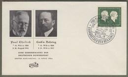 """Bund: Brief / Schmuckbrief Mit Mi-Nr. 197, ST 15.03.54: """" Geburtsttag Der Serologen Paul Ehrlich U. Emil Behring """" !   X - Covers & Documents"""