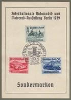 """Drittes Reich: Sonderkarte, Gedenkkarte Mi-Nr. 686-88 SST, Zu: """" Automobilausstellung Berlin 1939 """" !           X - Deutschland"""