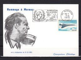 """"""" HOMMAGE A MERMOZ / CONCORDE """" Sur Carte Commémorative De 1970. N° YT PA 43. Parfait état CM - Concorde"""