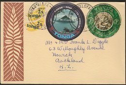 TONGA - NZ COMMERCIAL AIRMAIL COVER DIE CUT SHAPES & PRE-DECIMAL FOIL COIN - Tonga (1970-...)