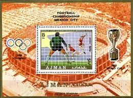 OVERPRINT. AJMAN. OLYMPIC 1968. FOOTBALL. WORLD CUP 1970. SS. MNH. - Copa Mundial